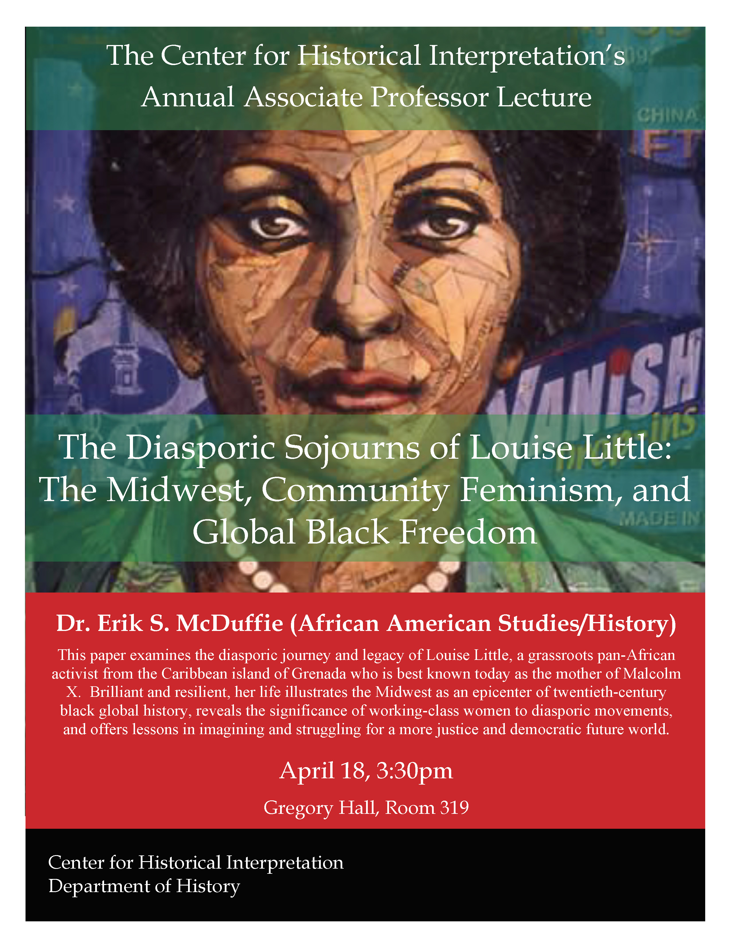 Flyer for lecture with image of woman