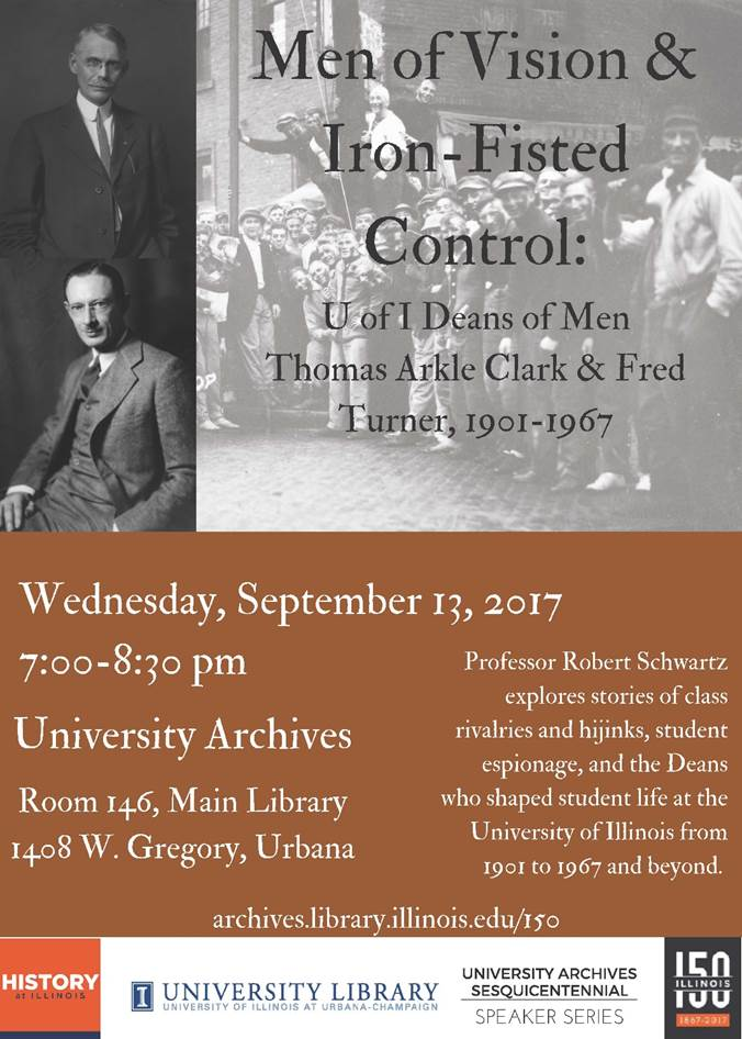 Poster for forthcoming lecture on Deans of Men. Photograph of Thomas Clark and Fred Turner.