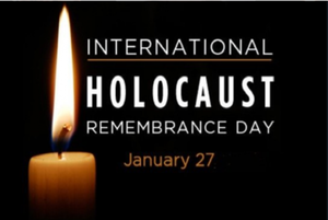 Burning candle with date of Holocaust International Remembrance Day