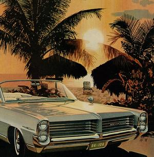 1963 Illustrated Car Ad, Pontiac Bonneville, with Elegant, Romantic Couple at Beach